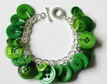 Button Bracelet Bright Emerald Green
