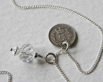 Victorian 1 1/2 Pence Sterling Silver Charm Necklace 1843 Genuine Coin