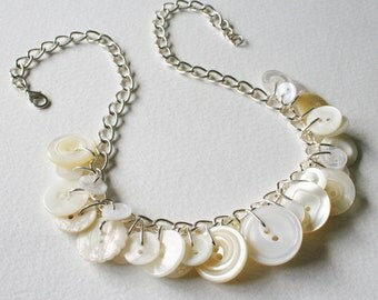 Button Necklace Pearly White and Cream