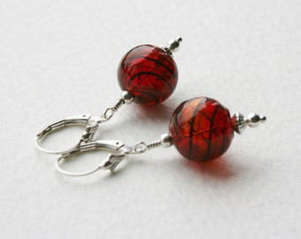 Sterling Silver Earrings Red 1950s Glass Globe Beads