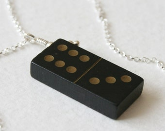 Vintage Wooden Domino 6 3 Charm Necklace Sterling Silver