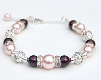 Plum and Pink Bracelet, Bridesmaid Jewelry, Summer Wedding, Bridal Party Gifts, Pearl Rhinestone Jewelry
