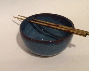 NOODLE bowl, blue glaze with a set of chopsticks, handmade, ceramic, pottery B44