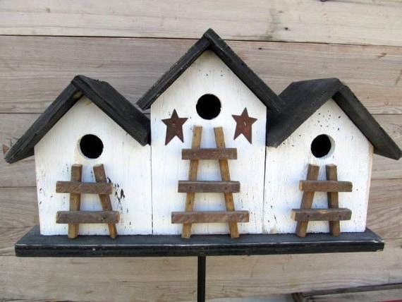 Primitive Birdhouse Triplex Three Compartment White Black Ladder Rusty Stars