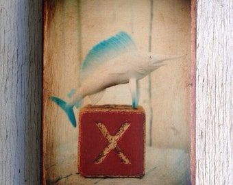Vintage Toy  X is for Swordfish (Xiphias gladius) - Wall Art 4x6