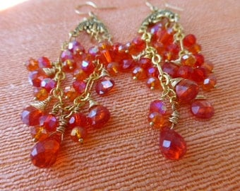 Fiery Orange Chandelier Earrings