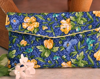 Beautiful upcycled clutch purse, blue and yellow floral clutch bag, cute recycled foldover purse, small handbag, pouch clutch with snap