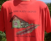 vintage 80s t-shirt KATY depot checotah oklahoma railroad train station tee Large XL red 90s