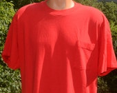 vintage 80s POCKET t-shirt plain blank red cotton tee XL Large tultex