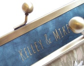 Customised message, bridal clutch bag, wedding monogram, custom slogan, bridesmaid, bridal gift for her