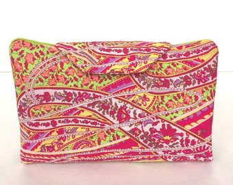 Essential oil case holds 8 vials or rollerballs Liberty Pink Paisley fabric