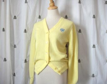 Vintage Lady Pickering Yellow Cardigan Sweater, Hillsboro Club Crest, Golf, Country Club, Size Small, Preppy
