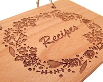 Wooden Recipe Book - Floral Wreath Recipes