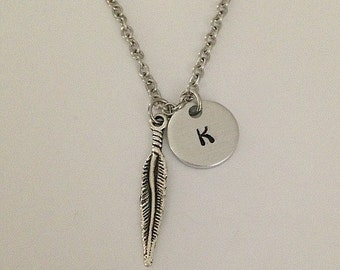 Personalized initial feather necklace hand stamped jewelry charm necklace feather pendant