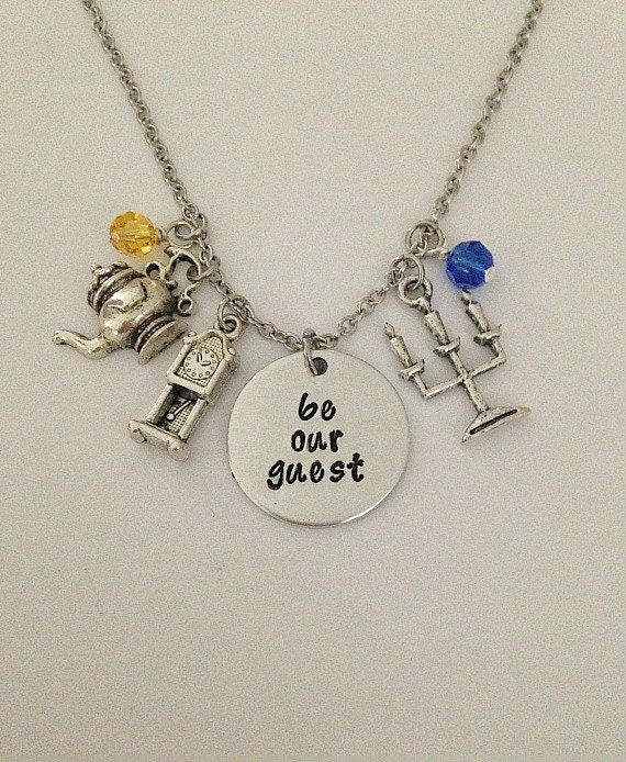 Disney inspired beauty and the beast necklace be our for Disney beauty and the beast jewelry