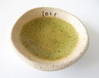 LOVE- Ring dish- Food Prep- Jewelry Holder- Sauce bowl- Wedding Favor- turquoise- Trinkets