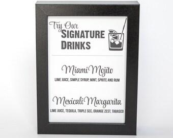 Signature Drink Bar Menu Sign Printable Custom DIY You Print Your Menu or Cocktails Reception Wedding Decor Retro