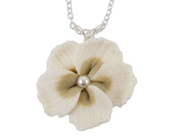 White Hibiscus Pearl Necklace - Hibiscus Jewelry