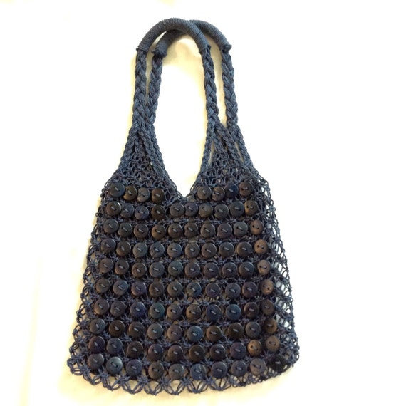 Blue Vintage Button shoulder bag