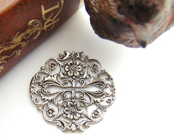 SILVER (2 Pieces) Round Floral Filigree Crest Flower Stamping - Jewelry Antique Silver Finding (FB-6107) #