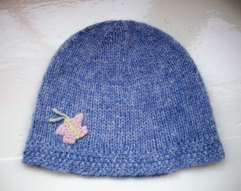 Girl's hat, knitted child's hat, soft, warm, light, blue beanie, cute, butterfly