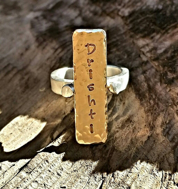Gold Silver Mixed Metal Custom Engraved Ring, Handstamped Personalized Engraved Yoga Or Name Statement Ring, Inspirational Memory Jewelry
