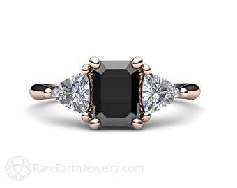 Black Diamond Engagement Ring Vintage Black Diamond 3 Stone Ring 14K or 18K Gold with Trillion Diamonds