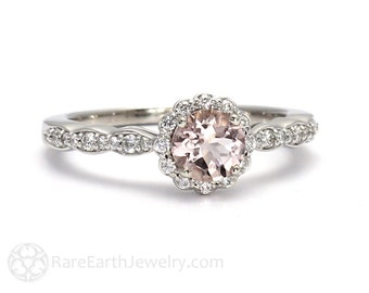 Morganite Engagement Ring Morganite Ring Diamond Halo 14K or 18K Pink Gemstone Ring