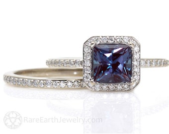 Princess Alexandrite Engagement Ring & Matching Band Diamond Halo Wedding Set 14K 18K Gold Platinum or Palladium
