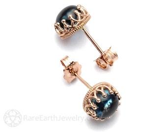 London Blue Topaz Earrings Crown Settings Cab 6mm or 8mm Stud Earrings December Birthstone 14K Gold Blue Gemstone Earrings