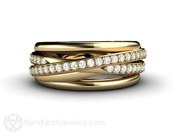 Diamond Ring Triple Band Multi Band Rolling Ring Wedding Band Anniversary Band 14K or 18K Gold
