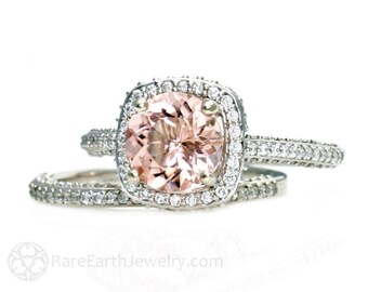 18K Morganite Wedding Set Diamond Halo Morganite Engagement Ring 18K White Yellow Rose Gold Bridal Jewelry