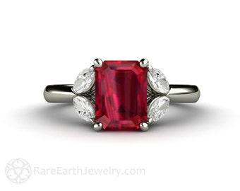 Ruby Ring Ruby Engagement Ring with Diamonds July Birthstone Gemstone 14K or 18K Gold Wedding Ring