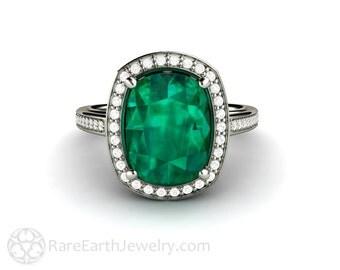 Cushion Emerald Engagement Ring Vintage Diamond Halo May Birthstone