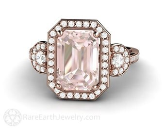 Morganite Engagement Ring Emerald 3 Stone Diamond Halo Rose Gold Morganite Ring Custom Engagement Ring