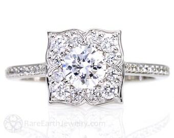 Platinum Art Deco White Sapphire Engagement Ring Diamond Halo Vintage Custom Bridal Jewelry
