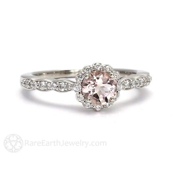 morganite engagement ring morganite ring diamond halo 14k or 18k pink gemstone ring - Morganite Wedding Rings