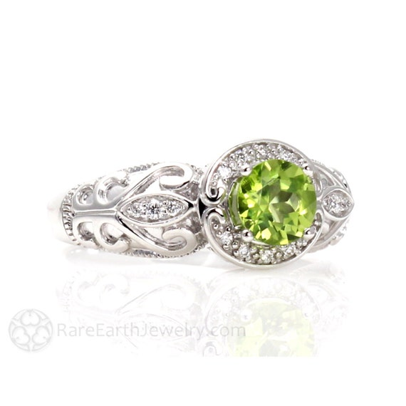 Vintage Peridot Ring Engagement Ring Diamond Halo Art Nouveau 14K or 18K Gold Custom Gemstone Ring August Birthstone