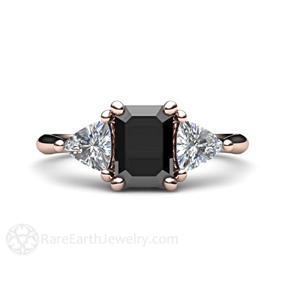 Black Diamond Engagement Ring Vintage Black Diamond 3 Stone