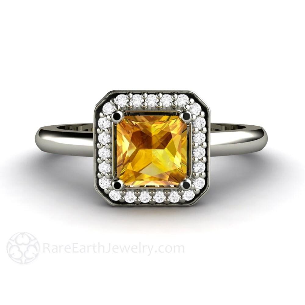 yellow sapphire ring princess sapphire engagement ring diamond. Black Bedroom Furniture Sets. Home Design Ideas
