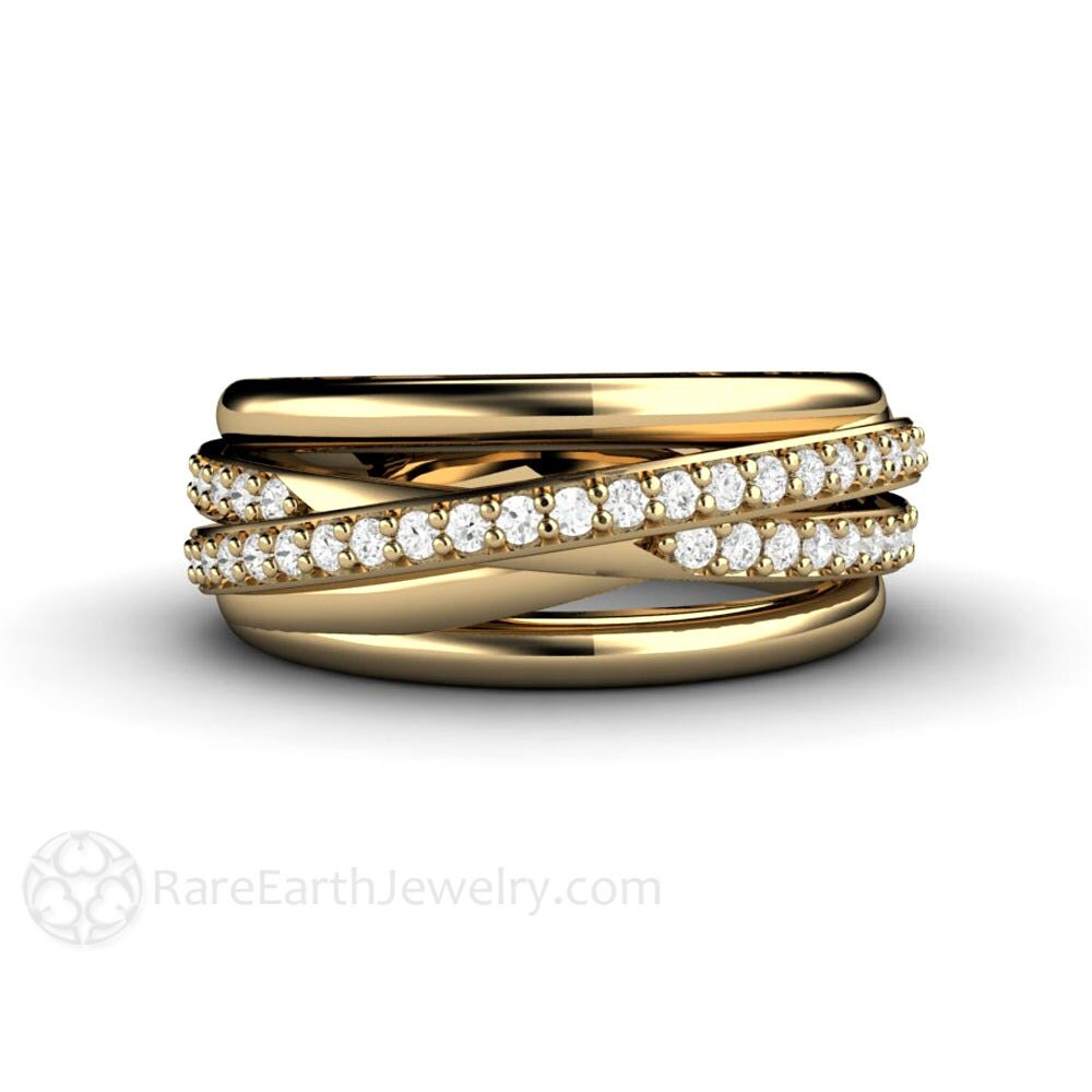 Diamond Ring Triple Band Multi Band Rolling Ring Wedding Band