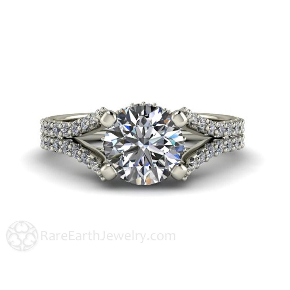 Split Shank Pave Diamond Moissanite Engagement Ring Moissanite