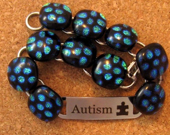 Dichroic Bracelet - Medical Alert Bracelet - Autism Awareness - Fused Glass Bracelet - Dichroic Jewelry