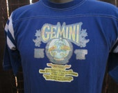 Zodiac Gemini shirt 80s Football Jersey Sparkle Glitter Iron on T shirt Vintage blue joke tshirt