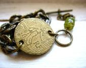 Peridot Jewelry, Coin Jewelry, Peridot Coin Charm Bracelet, Peridot Bracelet, Handmade Artisan Bracelet, Birthstone Bracelet