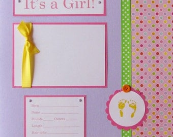 20 BABY GIRL Scrapbook Pages for 12x12 FiRsT YeAr ALbUm -- happy and bright too
