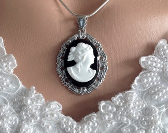 Antique Cameo Necklace, Black and White Bridal Necklace Jewellery, Downton Abbey Vintage Wedding, Victorian Statement, Wedding Gift Bride