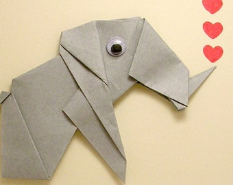 Origami Elephant Love You Tons Card
