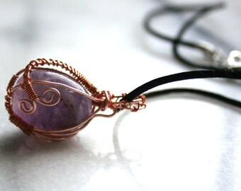 Amethyst and Rose Gold wire wrapped necklace