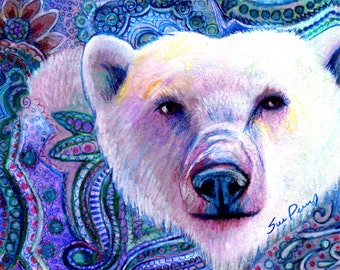 original art  drawing 8x10 polar bear zentangle